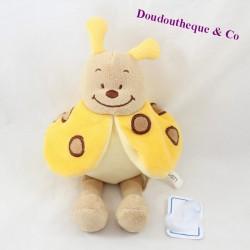 Doudou coccinelle BENGY jaune beige 22 cm