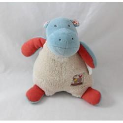 Doudou hippopotamus MOULIN ROTY Les Papoum rattle blue beige bell 19 cm