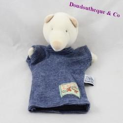 Doudou marionnette ours MOULIN ROTY La grande famille bleu 26 cm