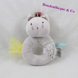 Rattle chat MOULIN ROTY Les Pachats gris bell 14 cm