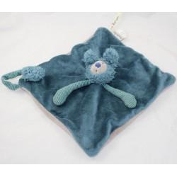 Doudou plat Baba koala MOULIN ROTY Les Zazous attache tétine bleu gris 23 cm