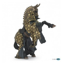 Figurine cheval PAPO 2007 Cheval du Maitre des armes cimier taureau noir 15 cm