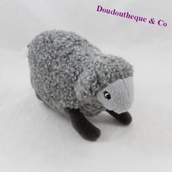 Peluche mouton gris poils bouclés 12 cm