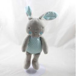 Doudou rabbit KLORANE blue grey geometric patterns 27 cm