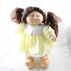 Vintage doll CABBAGE PATCH KIDS brown dress yellow 40 cm