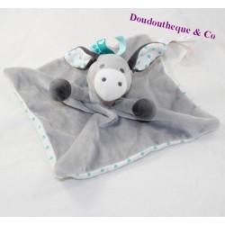 Doudou flat donkey OBAIBI grey blue peas 24 cm