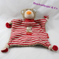 Doudou flat bear SIGIKID red stripes knots 28 cm