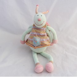 Doudou dragonfly MOULIN ROTY Zéphir and Zoe blue green pink 34 cm