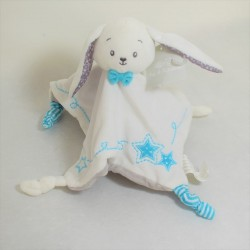 Doudou flat rabbit PAT - RIPATON The white and blue square halle