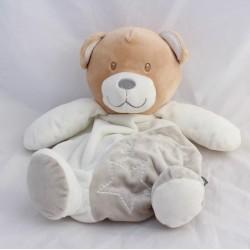 Peluche range pyjamas bear TOM - ZOE white grey star 34 cm