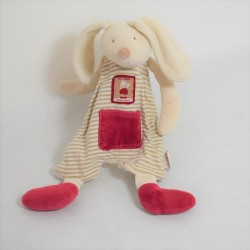 Doudou flat rabbit MOULIN ROTY LINVOSGES 123 red stripe rabbits