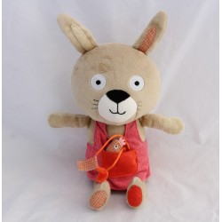 Peluche Lila rabbit OXYBUL FNAC EVEIL AND GAME dress hen 31 cm
