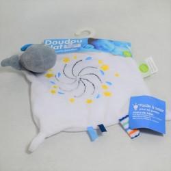 Doudou plat baleine BABY CALIN grise bleue et blanche