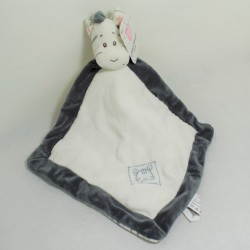 Flat zebra Doudou ANIMAL BLANKET WITH RATTE grey white bell under striped