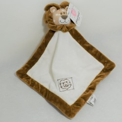 Doudou flat lion ANIMAL BLANKET WITH RATTE white and brown bell