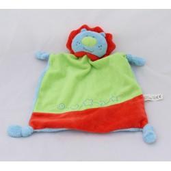 Doudou flat lion TENDER TOYS blue green red bell knots 32 cm