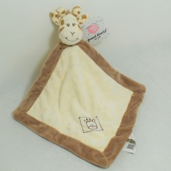 Doudou flat giraffe ANIMAL BLANKET WITH RATTE white and brown bell