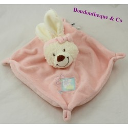 Doudou flat rabbit TEX BABY pink blue flowers 23 cm