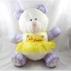 Bear bear bear BIKIN Puffalump parachute canvas dress I love you vintage purple yellow 42 cm