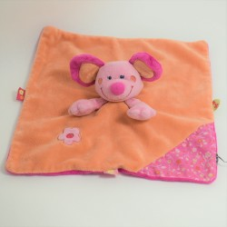 Doudou flat Mice INFLUX pink pink flowered puppet 27 cm