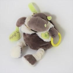 Hippopotamus activity doudou BABY NAT plush pink brown awakening 20 cm