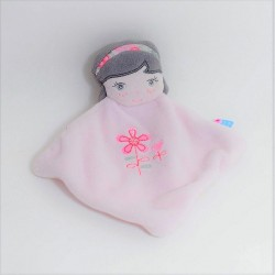 Doudou plat poupée SUCRE D'ORGE fille bandeau fleuris 23 cm