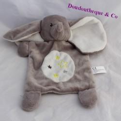 Doudou flat elephant NICOTOY stars green grey 27 cm