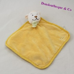 Doudou flat sheep KIMBALOO yellow green scarf 19 cm