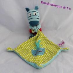 Blue green POMMETTE zebra handkerchief 17 cm