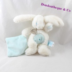 Doudou handkerchief rabbit BABY NAT white blue BN695 19 cm