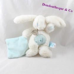 Doudou mouchoir lapin BABY NAT blanc bleu BN695 19 cm