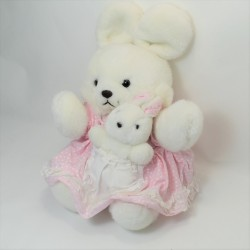 Rabbit LOUISE MANSEN white pink checkered knot 22 cm
