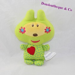 Rabbit peluche CARRÉ BLANC Green square red heart 20 cm