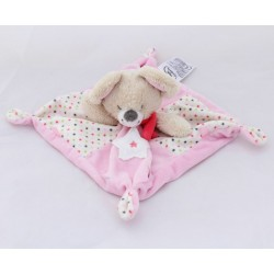 Flat Doudou mouse words children's pink stars 21 cm