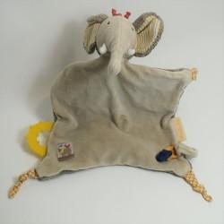Doudou elephant MOULIN ROTY beige 13 cm Papoum pacifier attached