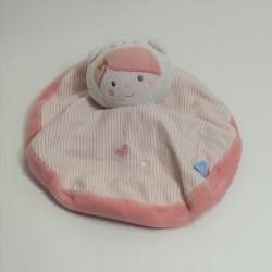Doudou plat poupée fille SUCRE D'ORGE coeur rose 21 cm