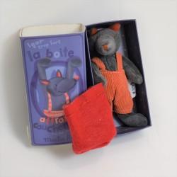 Doudou wolf Igor MOULIN ROTY The big family orange overalls 33 cm