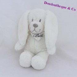Peluche rabbit POMMETTE bib baby white peas 26 cm