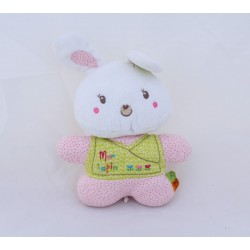 Duoudou rabbit NICOTOY My pink rabbit green white with polka dots flowers 21 cm