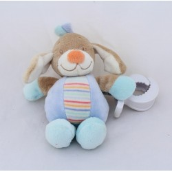 Doudou vibrant dog NATTOU The Z'amis blue beige orange pinches 17 cm