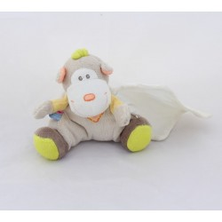Doudou handkerchief monkey SUCRE D'ORGE grey green yellow anise 15 cm