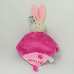 Doudou flat rabbit THE MARERS pink orange bell 26 cm