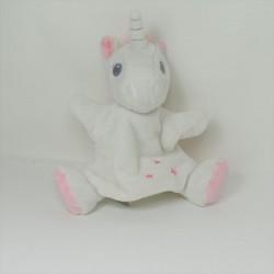 Doudou unicorn ball TEX BABY white pink star 16 cm
