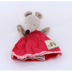 Doudou puppet Nini mouse MOULIN ROTY The Big Family red dress 25 cm
