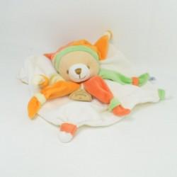 Teddy bear comforter DOUDOU ET COMPAGNIE green petals orange hat