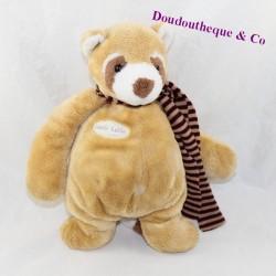 Doudou raccoon ALL COMPTE Copain Calin beige striped scarf 25 cm