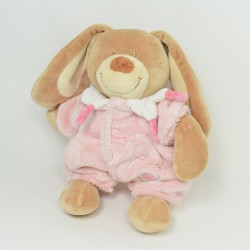 Doudou rabbit TEX BABY brown pajamas and pink flower 27 cm