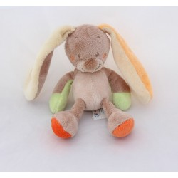 Doudou rattle rabbit NATTOU orange beige bell 16 cm