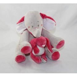 Musical towel Anna elephant NOUKIE'S Anna and Pili elephant pink beige rabbit Pili 20 cm