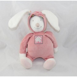 Doudou musical rabbit MOULIN ROTY Blueberry - Capuchin pink hood 26 cm